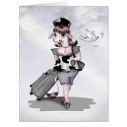 COW TRAVEL CARTOON BIG GRETTING Card