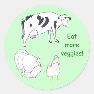 Cow Turkey Chicken Eat more Veggies stickers