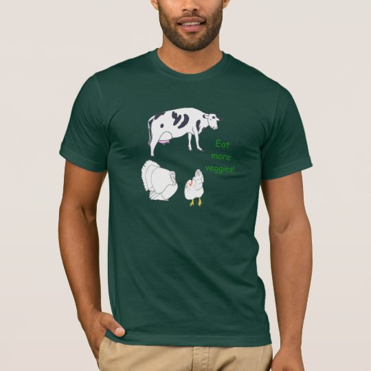 Cow Turkey Chicken Eat more Veggies tshirts