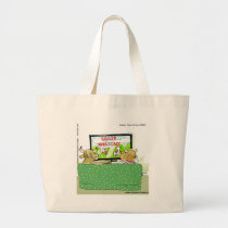 Cow TV Shows Funny Cartoon Large Tote Bag