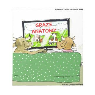 Cow TV Shows Funny Cartoon Notepad