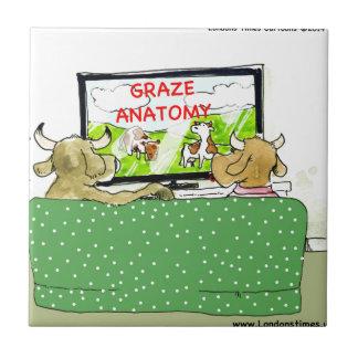Cow TV Shows Funny Cartoon Tile