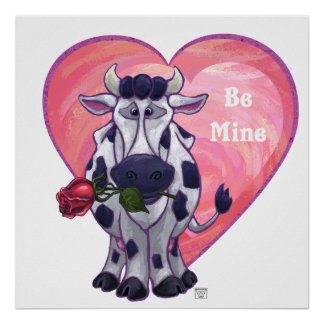 Cow Valentine's Day Poster
