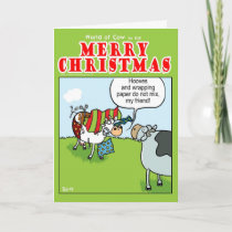 Cow vs Wrapping Paper Holiday Card