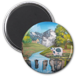 Cow waterfall folk art oil painting by G Bruce 2 Inch Round Magnet