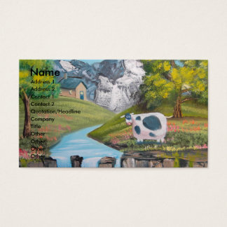 Cow waterfall folk art oil painting by G Bruce Business Card