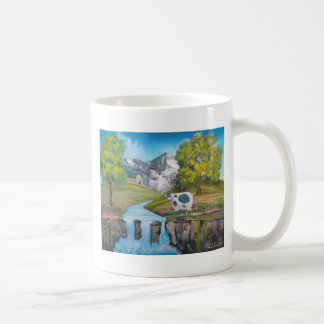 Cow waterfall folk art oil painting by G Bruce Coffee Mug