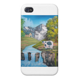 Cow waterfall folk art oil painting by G Bruce iPhone 4 Cover