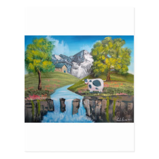 Cow waterfall folk art oil painting by G Bruce Postcard