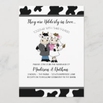Cow Wedding Cute Couple Udderly in Love Invitation