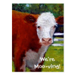 COW: WE'RE MOVING CARD POST CARDS