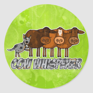 cow whisperer classic round sticker