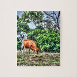 COW & WINDMILL RURAL QUEENSLAND AUSTRALIA PUZZLE