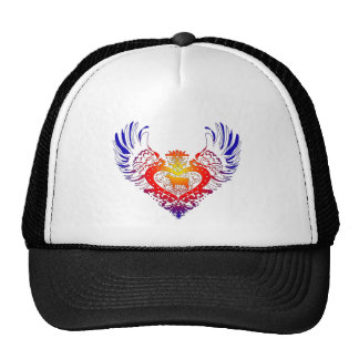 Cow Winged Heart Mesh Hat