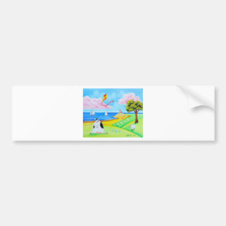 Cow with a kite folk art painting bumper sticker