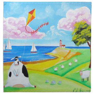 Cow with a kite folk art painting cloth napkin