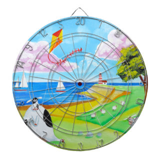 Cow with a kite folk art painting dart board