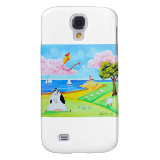 Cow with a kite folk art painting galaxy s4 cover