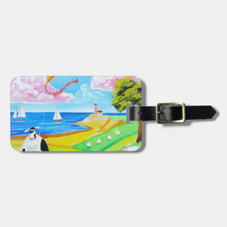 Cow with a kite folk art painting luggage tag