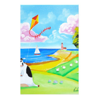 Cow with a kite folk art painting stationery