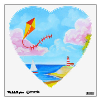 Cow with a kite folk art painting wall decal