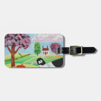 cow with a pig folk art painting bag tag