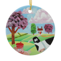 cow with a pig folk art painting ceramic ornament
