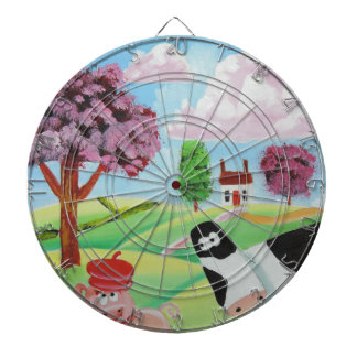 cow with a pig folk art painting dartboard