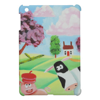 cow with a pig folk art painting iPad mini covers
