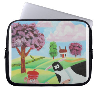 cow with a pig folk art painting laptop sleeve
