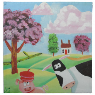cow with a pig folk art painting napkin