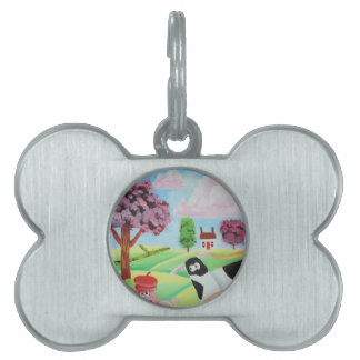 cow with a pig folk art painting pet ID tag