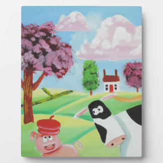 cow with a pig folk art painting plaque
