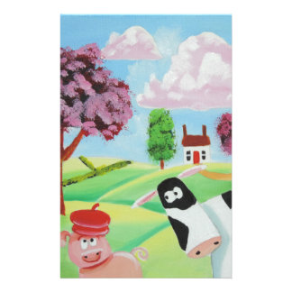cow with a pig folk art painting stationery