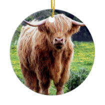 Cow with big horns beautiful nature scenery ceramic ornament