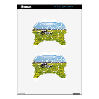 Cow with calves grazing in meadow with dandelions xbox 360 controller skins