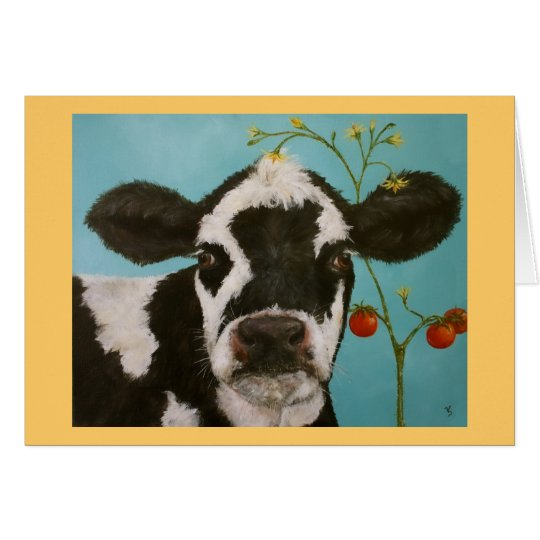 Cow with cherry tomatoes card