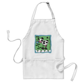 Cow with Coffee Cup  bordered mmm...coffee and cre Adult Apron