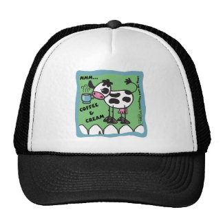 Cow with Coffee Cup  bordered mmm...coffee and cre Trucker Hat