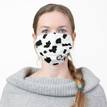 cow with cow print pattern cloth face mask