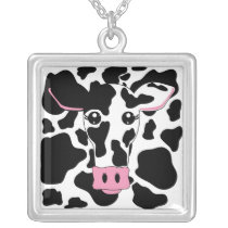 Cow with Cow Print Silver Plated Necklace