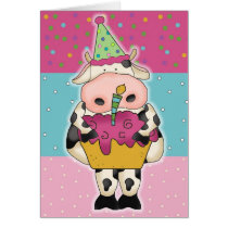Cow with Cupcake Birthday Card
