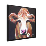 Cow with Daisy Stretched Canvas Prints