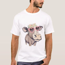 Cow with flower wreath and sunglasses T-Shirt