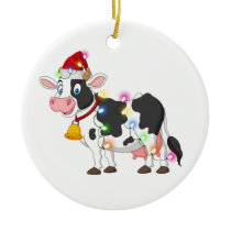 Cow With Hat Scaft Christmas Ceramic Ornament