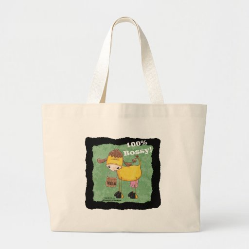Cow with Milk Bucket 100 percent Bossy copy Tote Bag