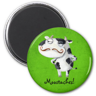 Cow with Mustaches 2 Inch Round Magnet