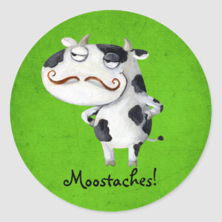 Cow with Mustaches Classic Round Sticker