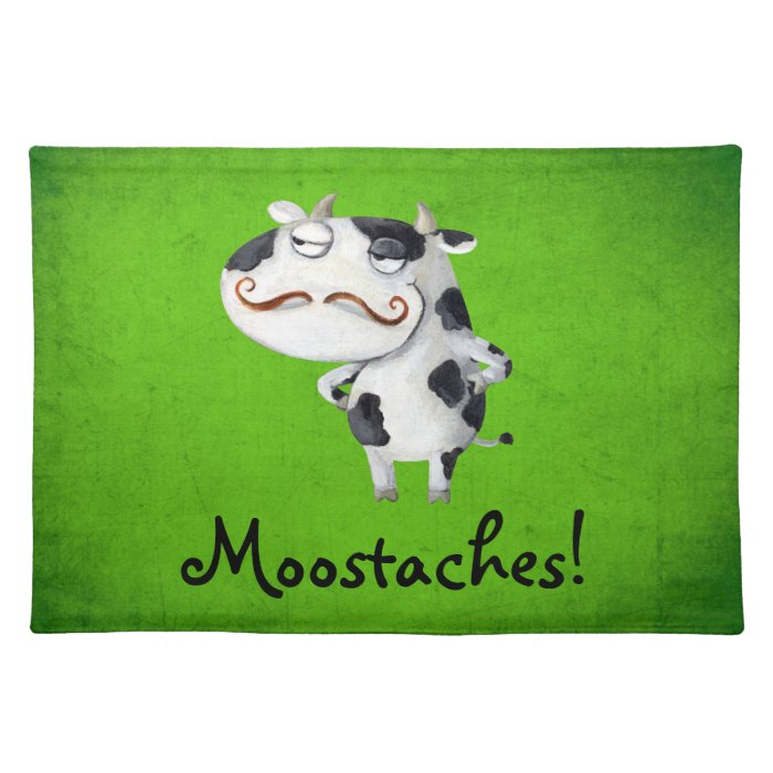 Cow with Mustaches Cloth Placemat