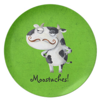 Cow with Mustaches Dinner Plate